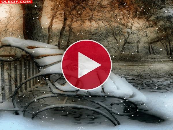 GIF: Nieve cayendo sobre un banco