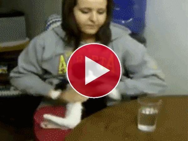 Este gato quiere beber agua
