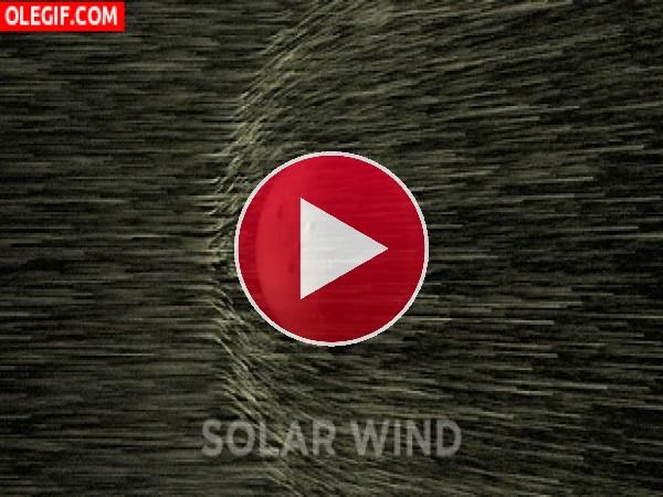 GIF: Viento solar chocando contra Marte