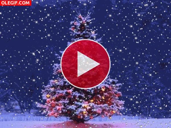GIF: Copos de nieve cayendo sobre un árbol de Navidad