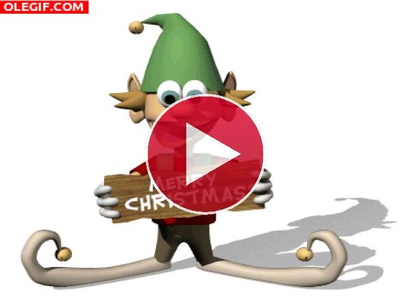 """Un simpático duende te desea """"Feliz Navidad"""""""