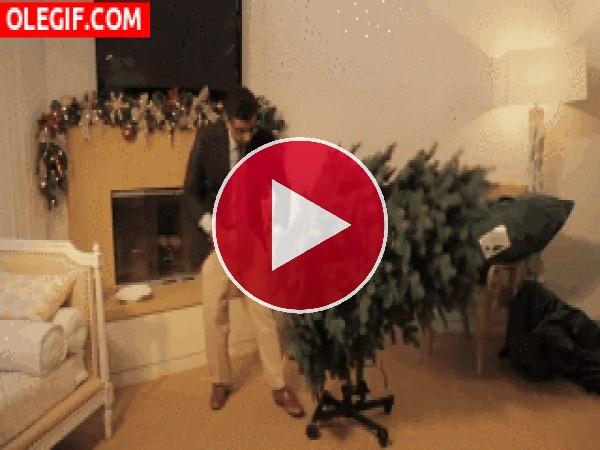 GIF: Montando el árbol de Navidad