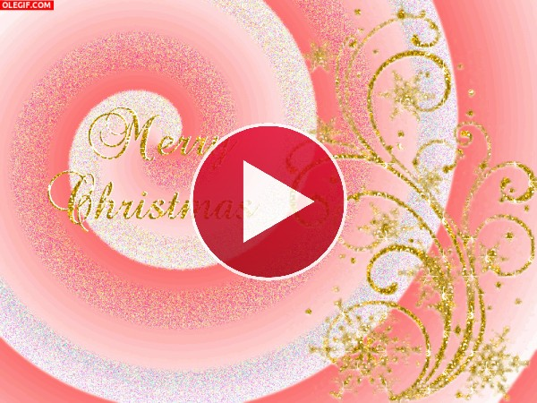 GIF: Feliz Navidad en rosas y dorados
