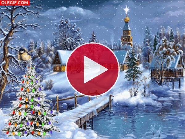 Nieva sobre un pueblo navideño