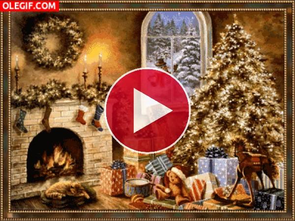 Salón iluminado en la noche de Navidad