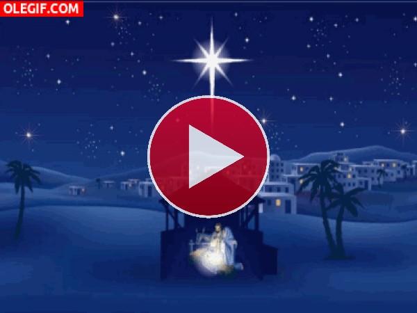 GIF: Estrellas brillando sobre el Portal de Belén