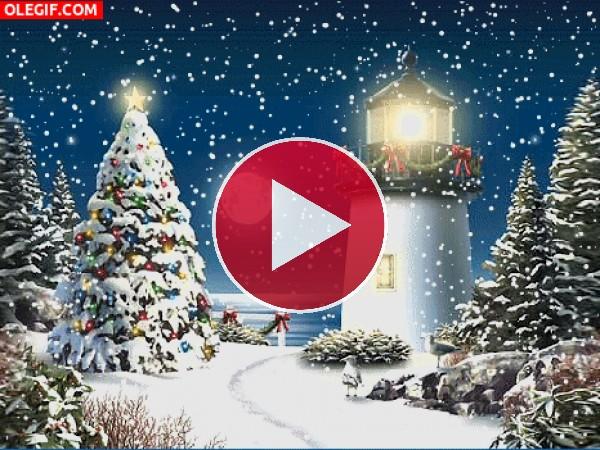 Nieve cayendo sobre el faro la noche de Navidad