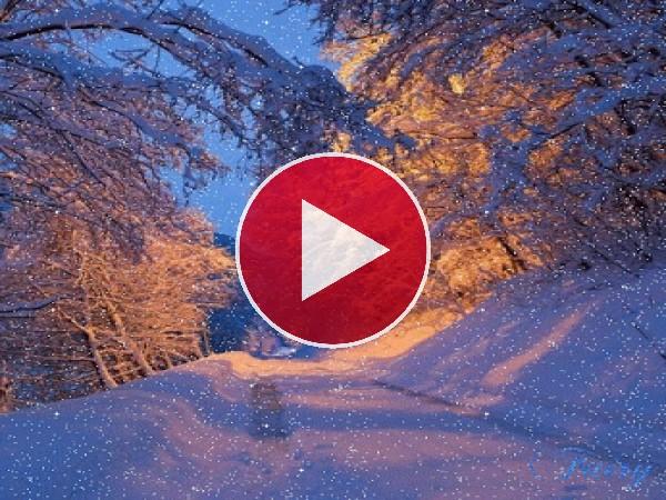 Nieve cayendo en la carretera