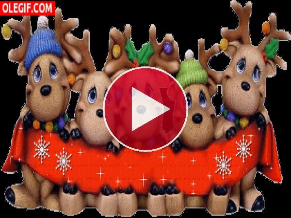 Unos simpáticos renos navideños