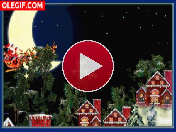 GIF: Papá Noel repartiendo ilusión en Navidad