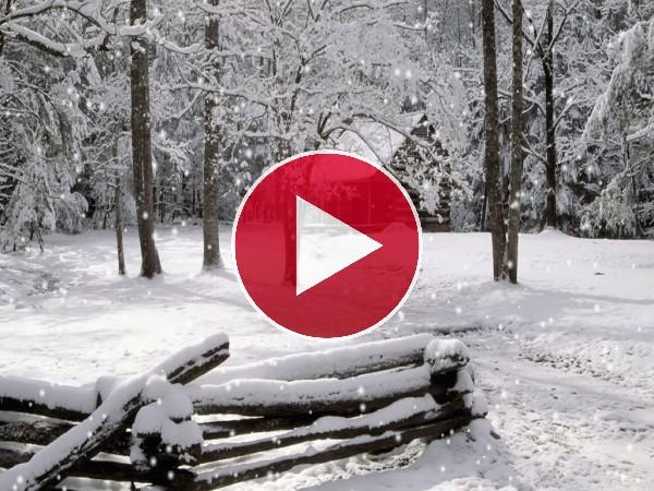 Copos de nieve cayendo sobre la cabaña