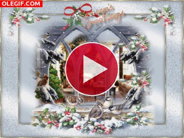 GIF: Navidad tras una ventana