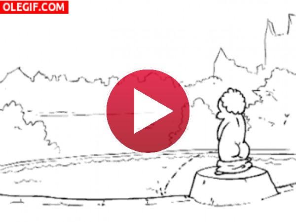 GIF: Sirenita contra la estatua meona