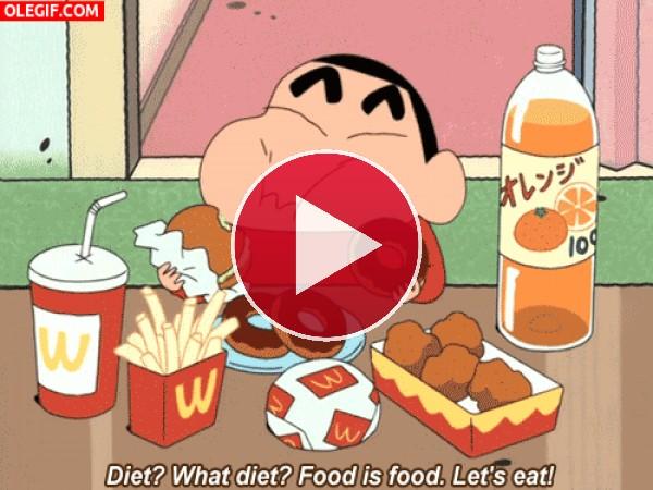 Shin Chan comiendo a dos manos