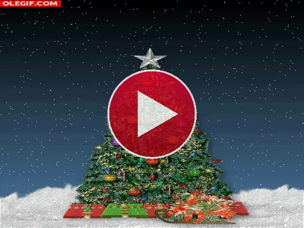 GIF: Estrella brillando en el árbol de Navidad