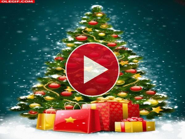 GIF: Un árbol de Navidad repleto de regalos