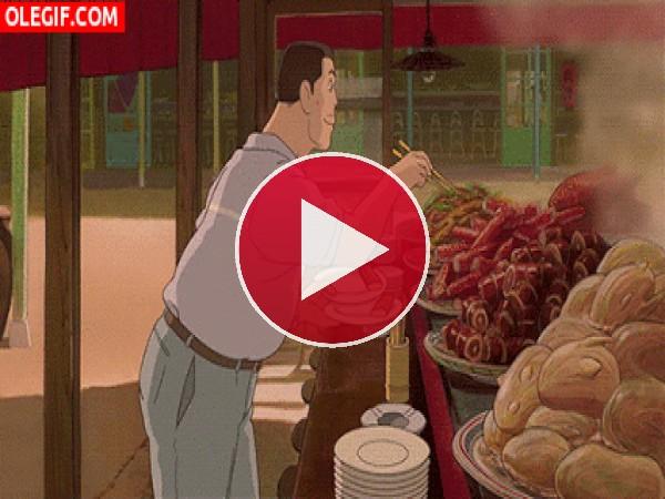 GIF: El padre de Chihiro no para de coger comida