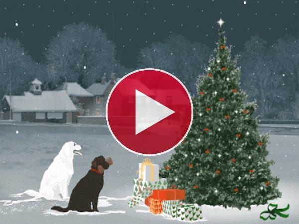 Perros vigilando el árbol de Navidad