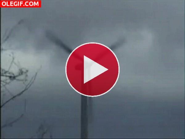GIF: Rama destruyendo un molino eólico