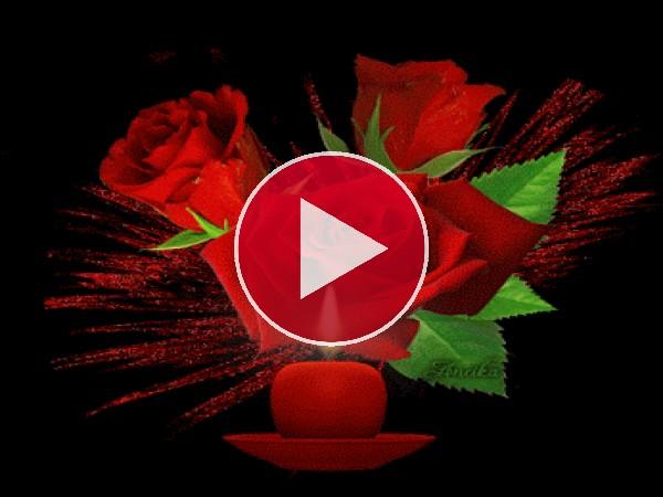 GIF: Vela iluminando unas rosas
