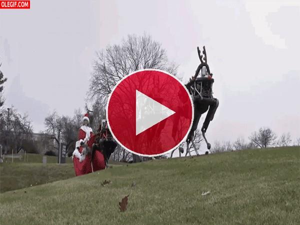 GIF: Mamá Noél y sus renos robóticos