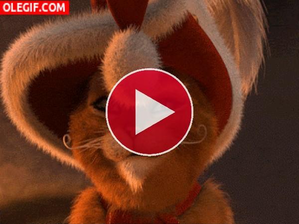 GIF: El Gato con Botas en Navidad