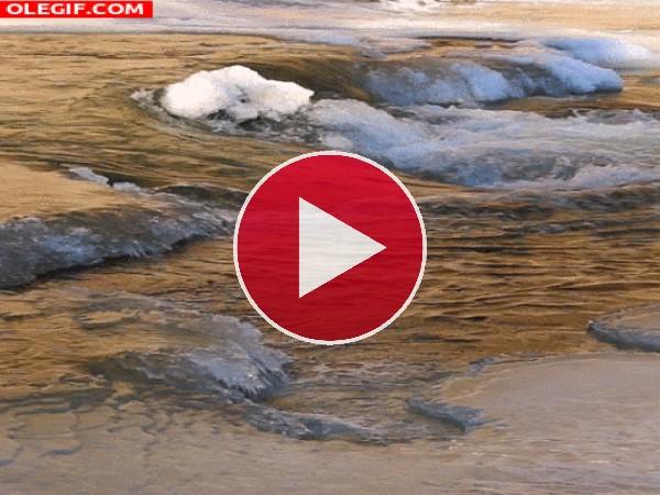 Capa de hielo en el río