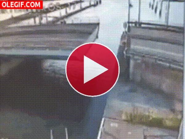 GIF: No se dio cuenta que estaba el puente abierto