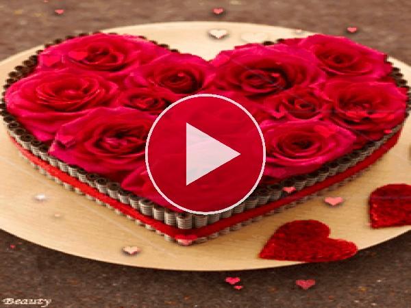 GIF: Una tarta de rosas para San Valentín