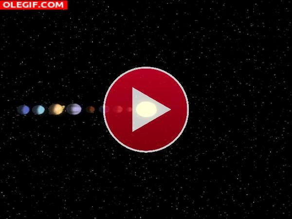 GIF: Planetas girando en espiral