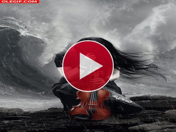 Violinista bajo la lluvia