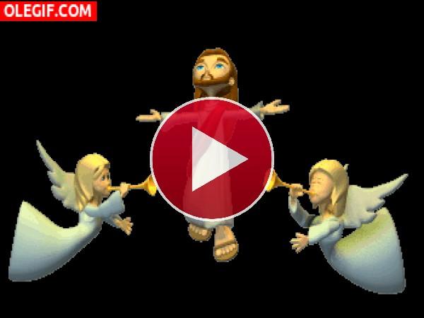 Jesús entre ángeles