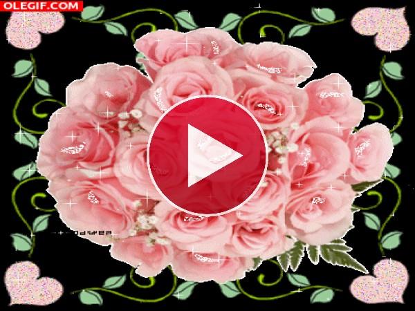 Brillante ramo de rosas
