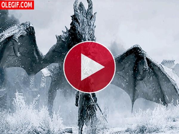 GIF: Luchando contra un dragón