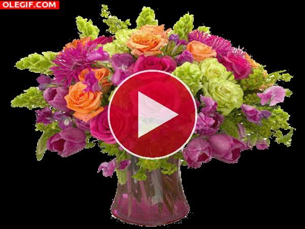 GIF: Mariposas junto a un jarrón con flores