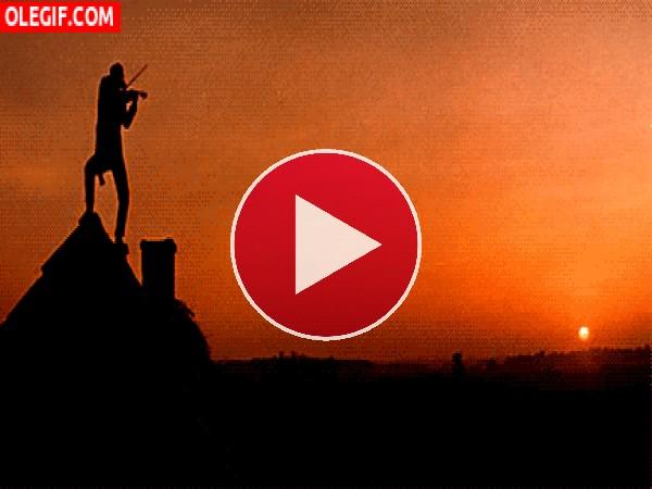 GIF: Violinista sobre el tejado