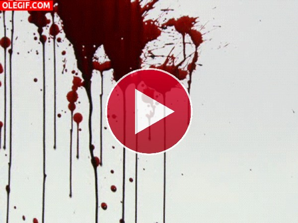 GIF: Sangre chorreando por una pared