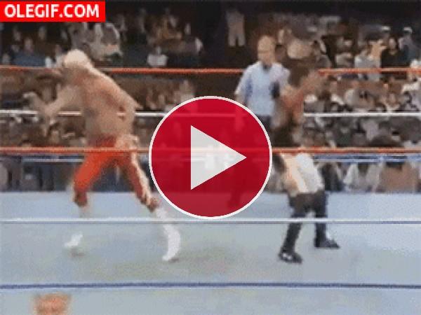GIF: ¡Fuera del ring!
