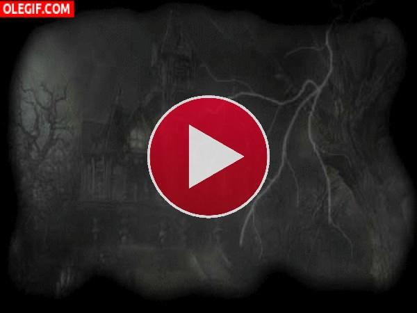 GIF: Rayos sobre la casa embrujada