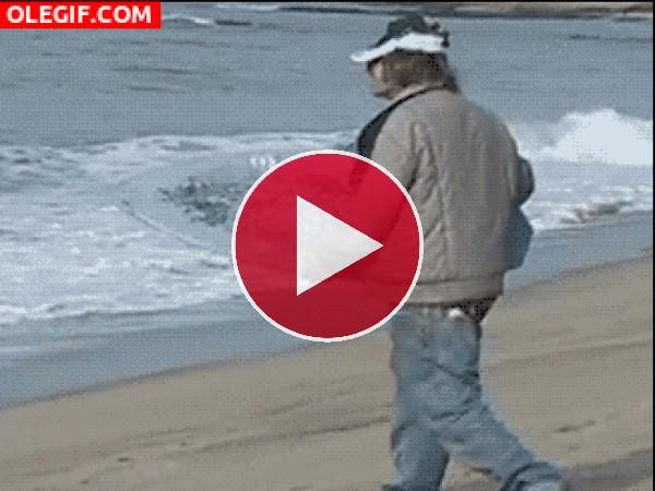 GIF: Surfeando con el culo al aire
