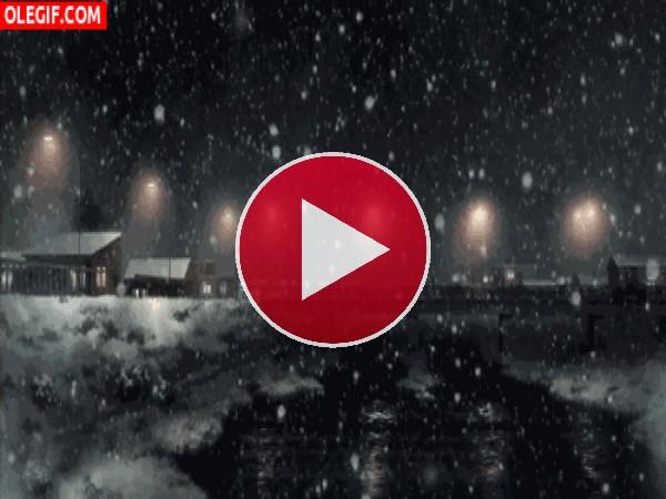 Nieve cayendo sobre el río
