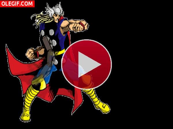 Thor lanzando el martillo