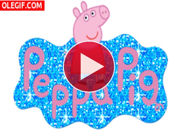 Peppa Pig brillando entre purpurina