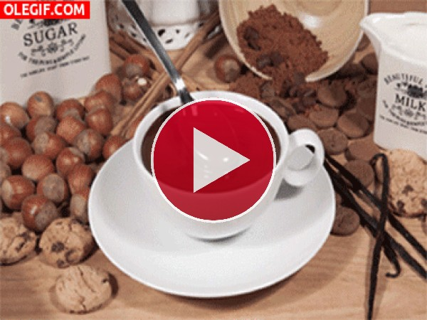 GIF: Una rica taza de chocolate caliente