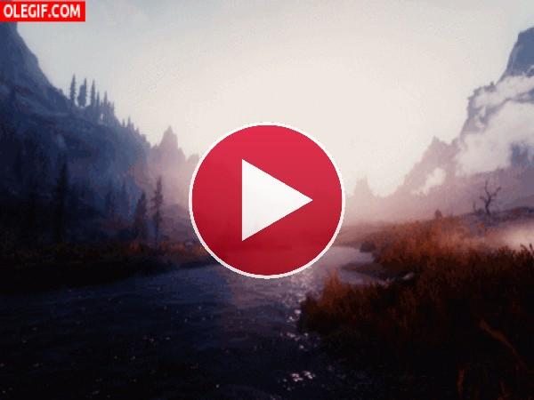 GIF: Sol brillando en las aguas del río