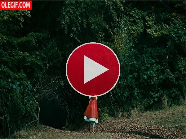Caperucita Roja adentrándose en el bosque