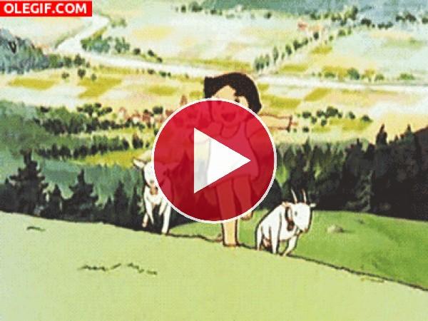 GIF: Heidi corriendo con las cabras