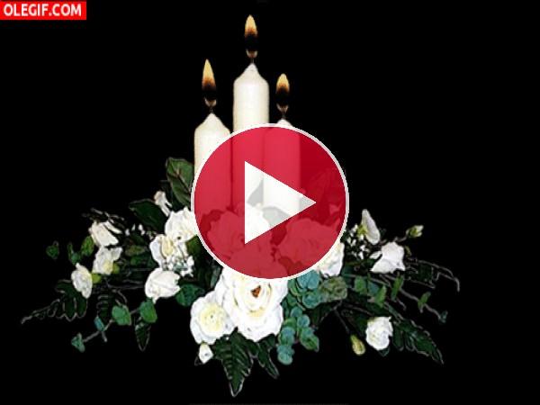 Velas blancas en un centro de flores