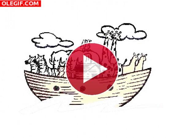 Animales balanceándose en el Arca de Noe