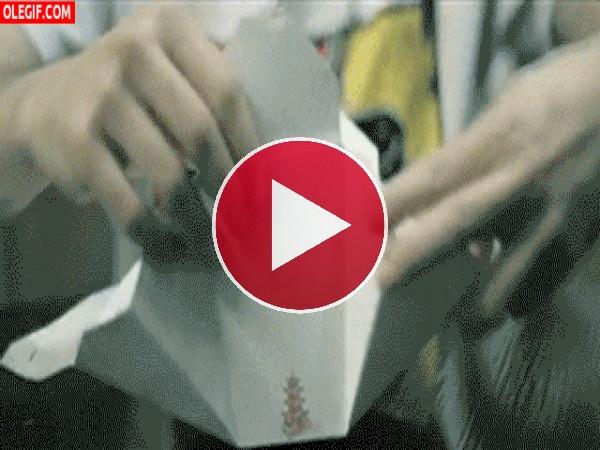 GIF: Abriendo una caja con tallarines chinos